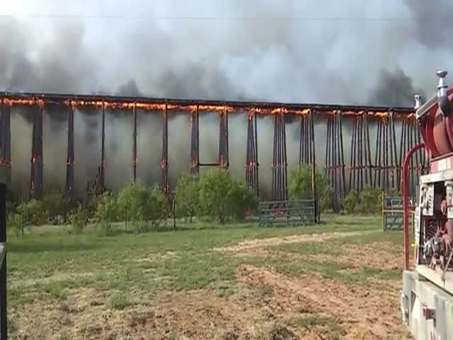 Railroad Bridge in Fire Collapses like Dominoes