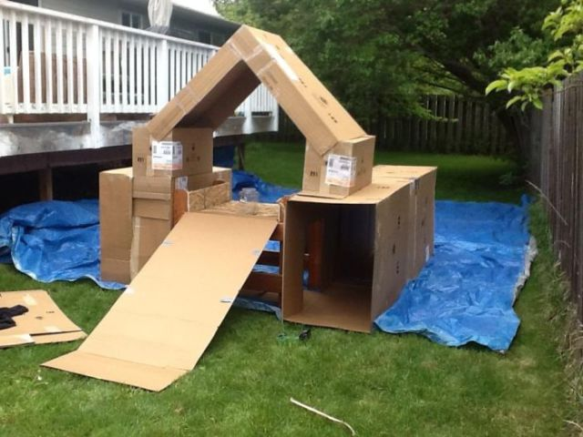 Homemade Cardboard Box Fortress