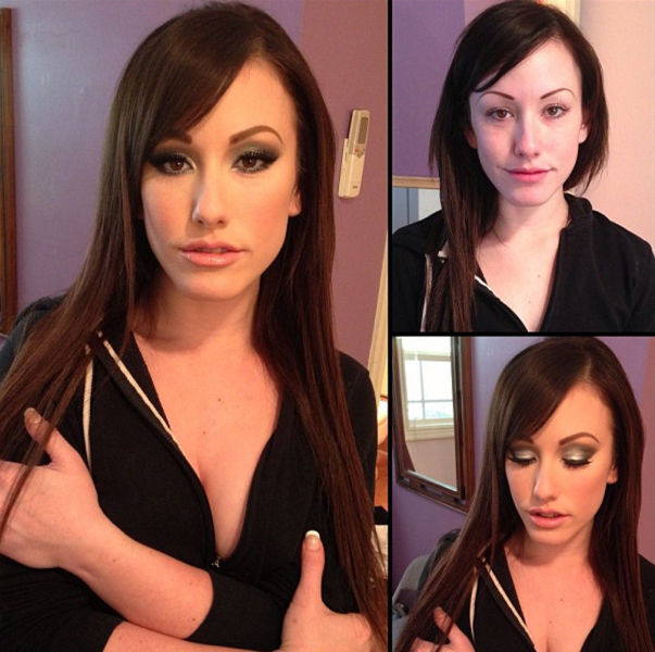 Porn Stars Before and After Their Makeup Makeover. Part 2
