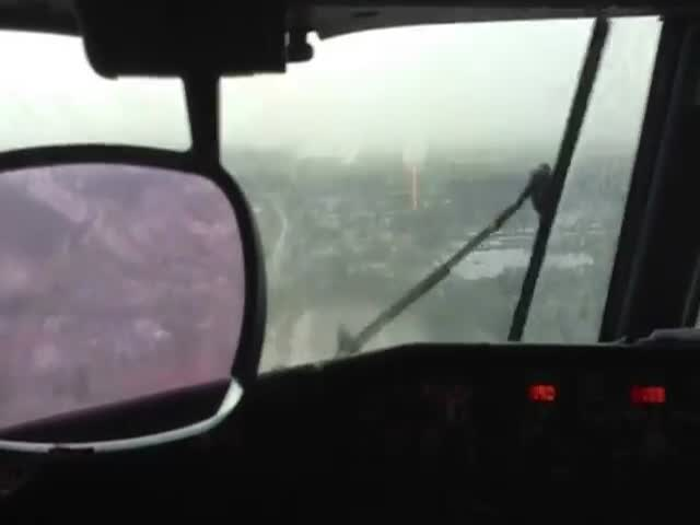 Runway Completely Disappears under Heavy Rain Just Before the Landing