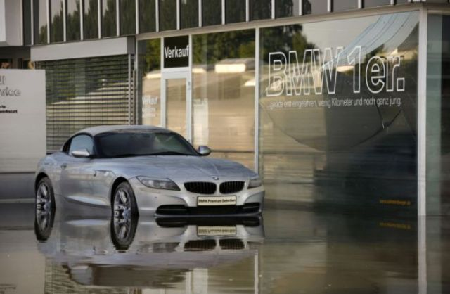 New Cars Get Buried by a Sea of Water in German Floods