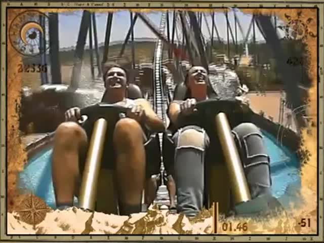 Alluring. The girls flashing on roller coaster