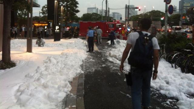 Tokyo Sidewalk Covered in a Sea of Foamy Bubbles