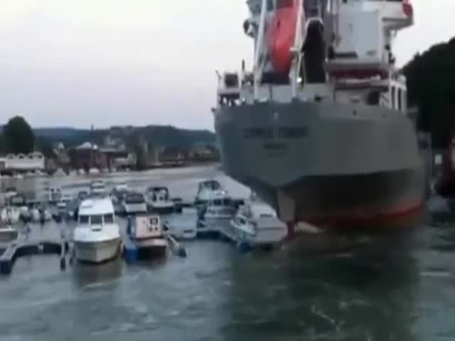 Huge Cement Carrier Ship Ploughs in Moored Yachts in Norway Marina