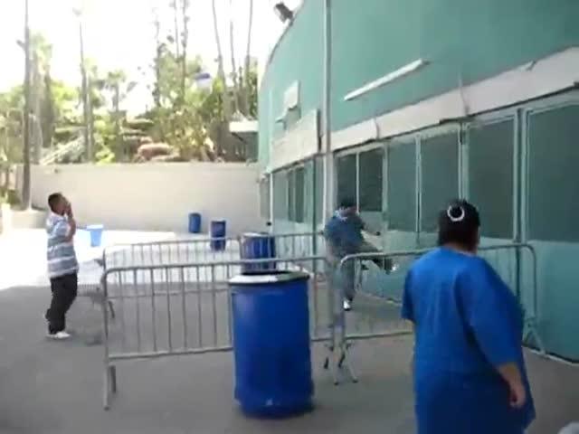 Drunk Guy Messes with the Wrong Door…