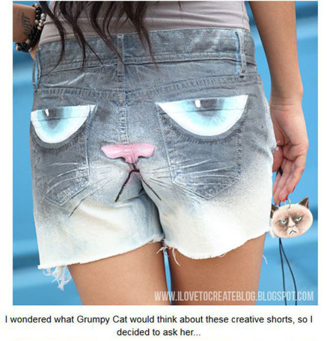 Make a Fashion Statement with These Homemade Grumpy Cat Shorts