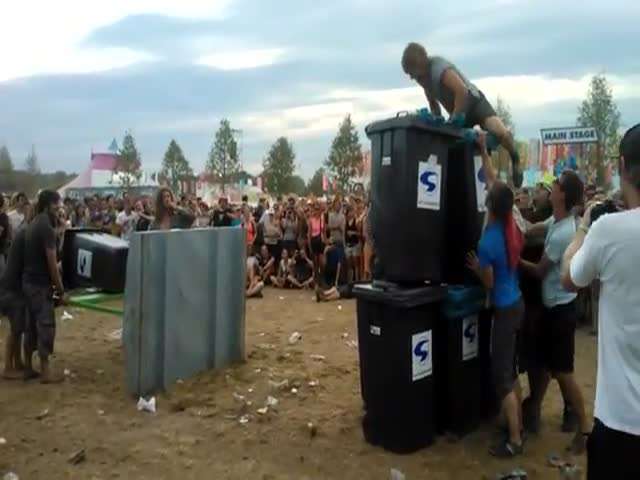 Drunk Norwegians Play Angry Birds IRL at Some Festival