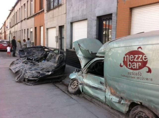 This Is What Happens When a Brick Wall Falls on a Car