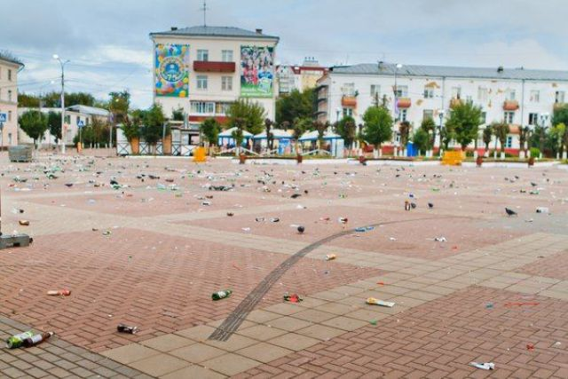 A Russian Town after a Massive Local Holiday Celebration