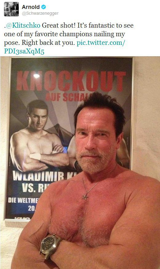 Schwarzenegger and Klitschko on Twitter