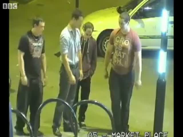 Feel the Spirit of Drunkenness: Young Men Filmed Fixing a Bike Rack