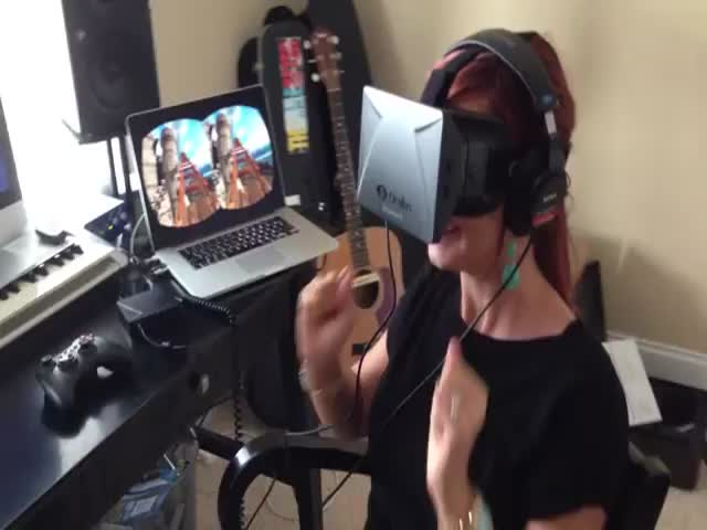 Funny Reaction to Roller Coaster Virtual Reality Experience