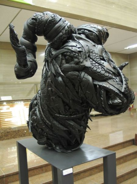 Used Car Tyres Transformed into Fascinating Sculptures