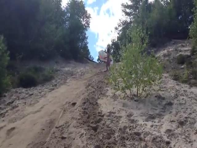 Riding Down a Sand Dune on a Floating Mattress Fail