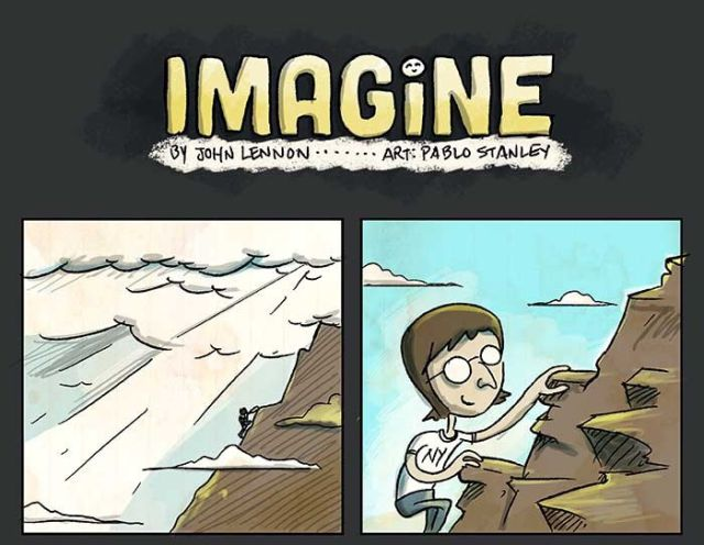 "A Quirky Cartoon Rendering of John Lennon's ""Imagine"""