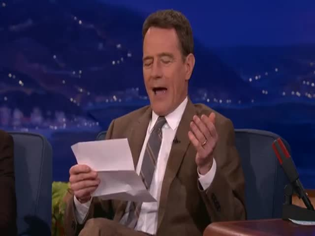Bryan Cranston Reads His Favorite Erotic Fan Letter