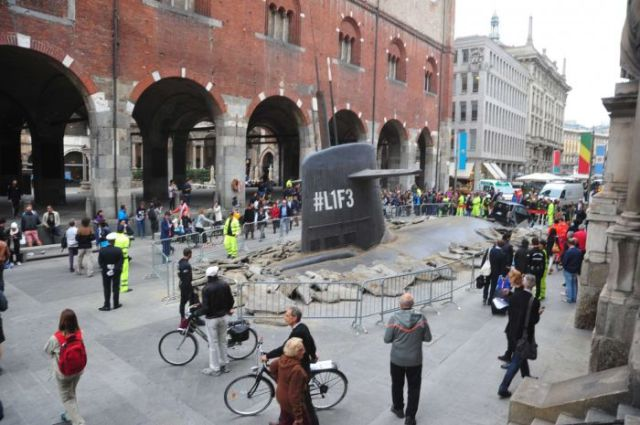 Submarine Emerges in the Centre of Milan