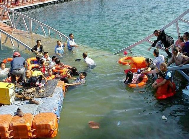 Tourists in China Take an Unplanned Swim While Sightseeing
