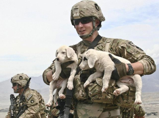 Soldiers Showing off Their Softer Side