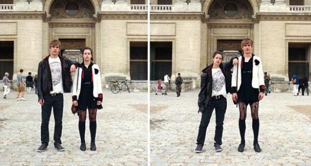 Couples Try Out Each Other's Outfits for Unusual Photo Project