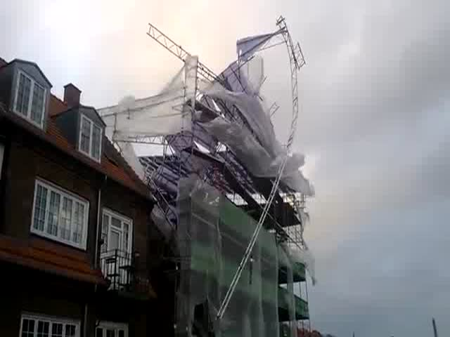 Wind Tears Down Scaffolding during Storm in Denmark