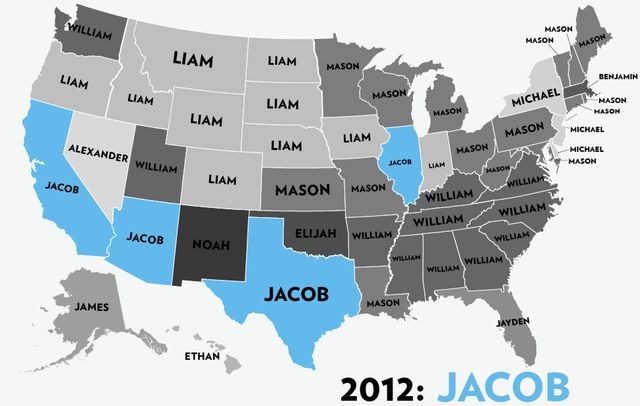 A State by State Guide to the Most Popular Name for Boys over Six Decades