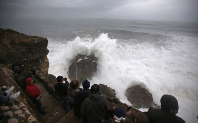 Crazy Thrill-Seeking Surfers Ride Giant Wave after Storm in Portugal