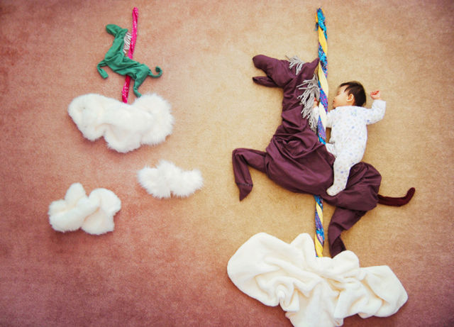 Artsy Mom Uses Her Sleeping Baby as Creative Inspiration for Art