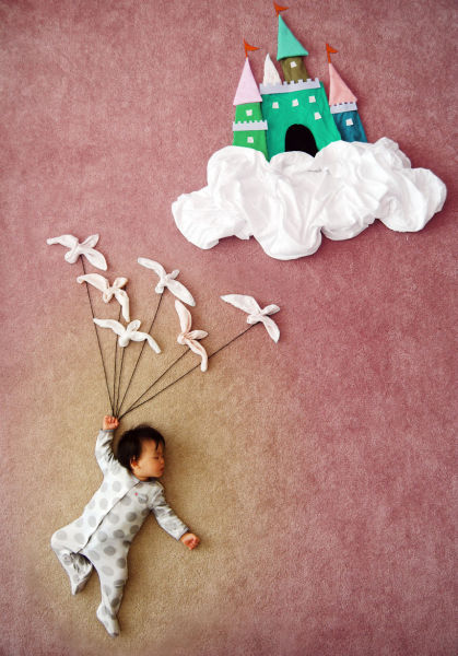 Artsy Mom Uses Her Sleeping Baby As Creative Inspiration