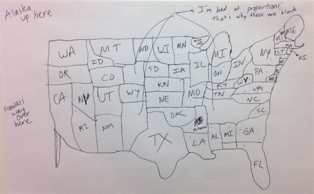 Attempts at Drawing a Map of the USA from Memory