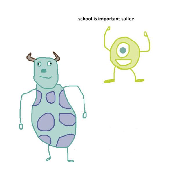 Microsoft Paint Illustrations Succinctly Summarise Popular Pixar Films
