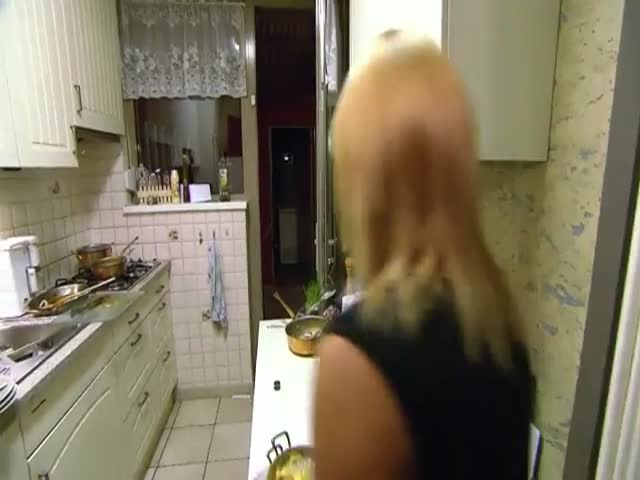Belgian Blonde Tries Making Coffee