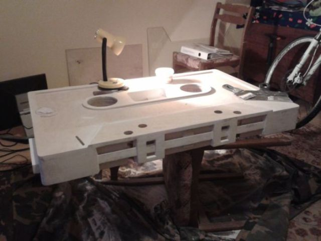 DIY Coffee Table Shaped Like an Audio Cassette