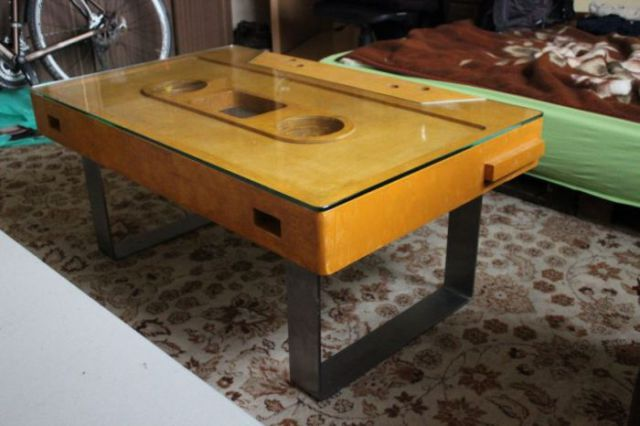 DIY Coffee Table Shaped Like an Audio Cassette