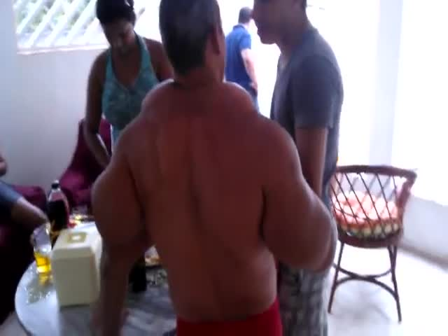 Brazilian Synthol Freak Showing Off
