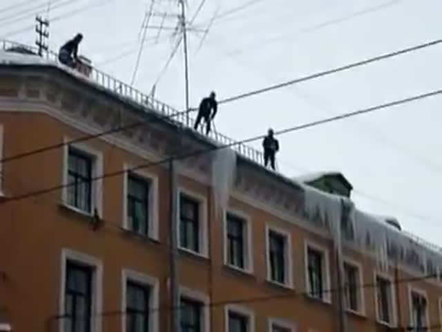 Meanwhile, in Russia: Removing Icicles Gone Wrong