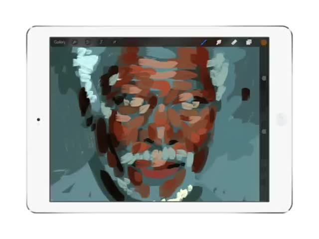 Incredible Photorealistic iPad Finger Painting of Morgan Freeman