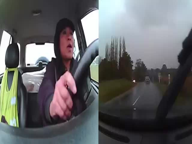 Woman Keeps Her Cool during Car Accident - Dual Dash Cam