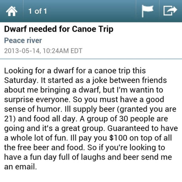 Strange and Amusing Craiglist Ads from 2013