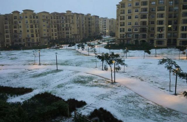 First Snow in Egypt for Over a Century