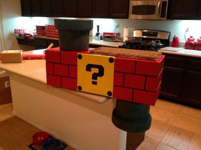 Super Mario Inspired Cat Shelf