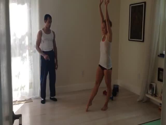 Hot Girl Practicing Her Handstands