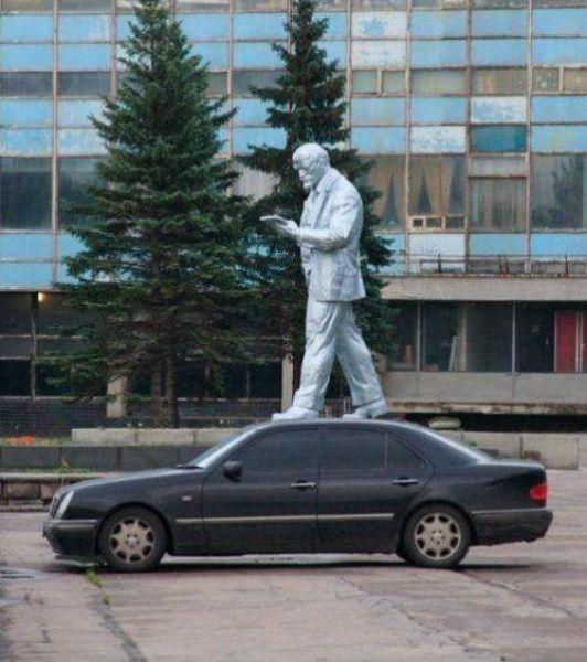 People Making a Mockery of Statues
