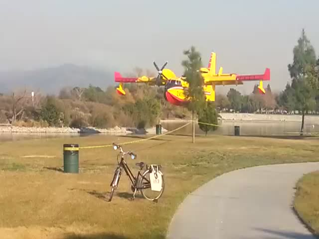 Firefighting Aircrafts Refilling Water during Los Angeles Fires