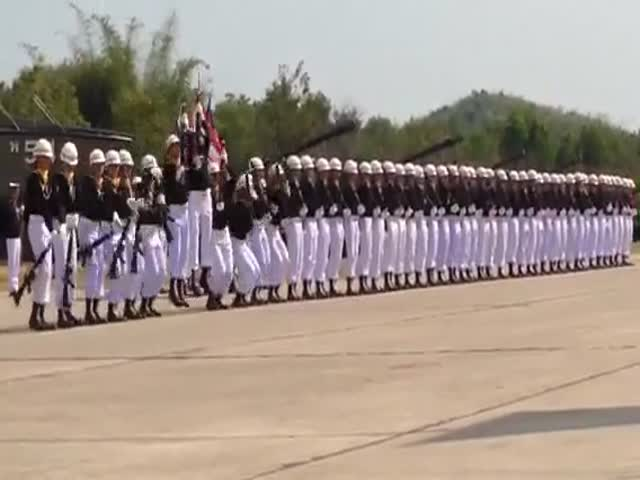 Domino Soldiers at Military Parade in Thailand