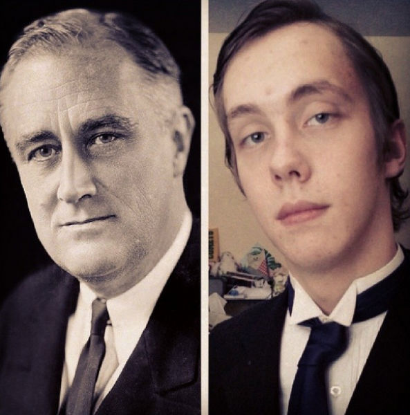 High School Student Tries Out the Faces of the US Presidents