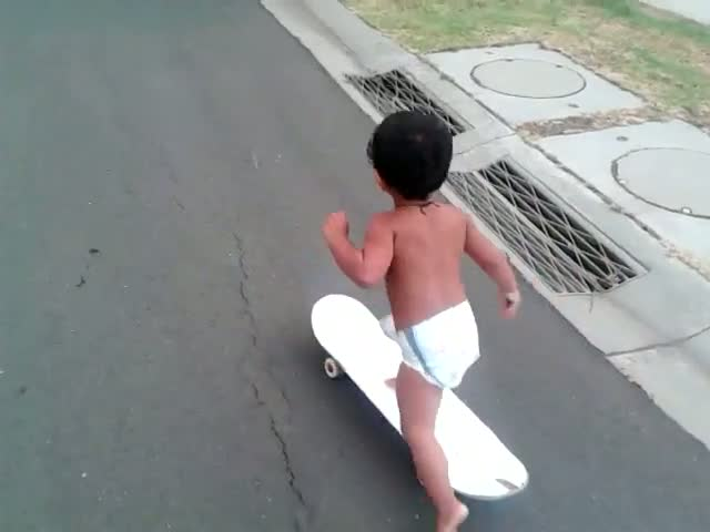 Still Wearing Diapers and Already Skateboarding