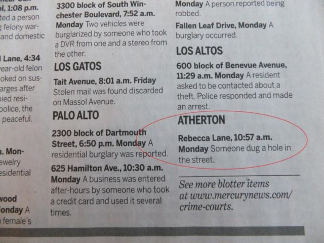 The Weird Things in the Atherton Police Blotter