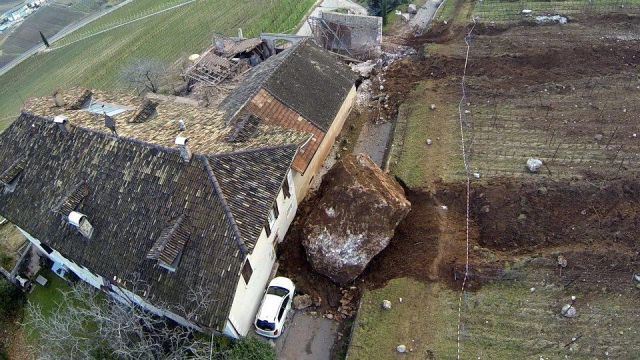 Massive Rock Falls onto a Small Farm in Italy