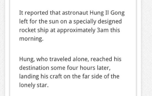 North Korea Claims That They Have Landed on the Sun